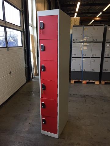 6 vaks lockers – grijs/rood